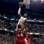 Indiana Pacers Center Roy Hibbert Skys Over Atlanta Hawks Big Man Ivan Johnson (Video)