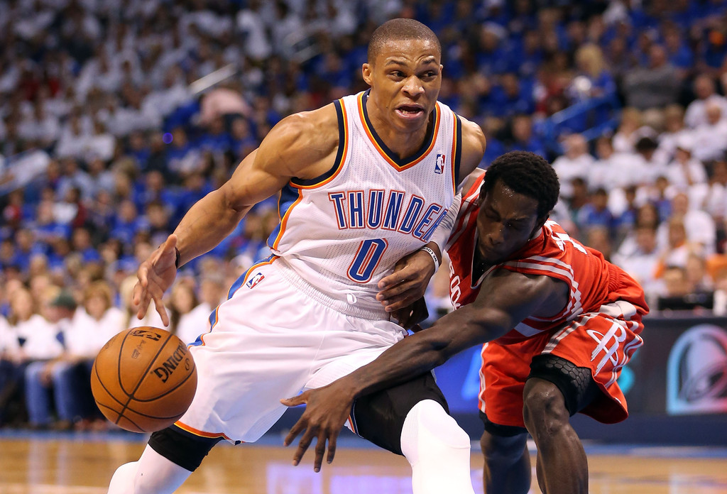 Russell+Westbrook+Patrick+Beverley+Houston+EOk7m2rkDisx Oklahoma City Thunder Star Russell Westbrook Out Indefinitely To Have Knee Surgery