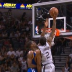 Spurs Forward Kawhi Leonard Skies Pass Golden State Forward Harrison Barnes For A One Hand Dunk (Video)