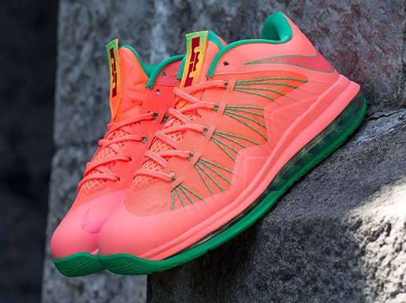 watermelon-bright-mango-lebron-10-low-1 Nike Air Lebron X Low (Mango) (Release 8-17-13) (Photos)