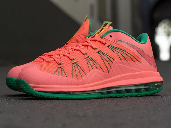 watermelon-bright-mango-lebron-10-low-2 Nike Air Lebron X Low (Mango) (Release 8-17-13) (Photos)