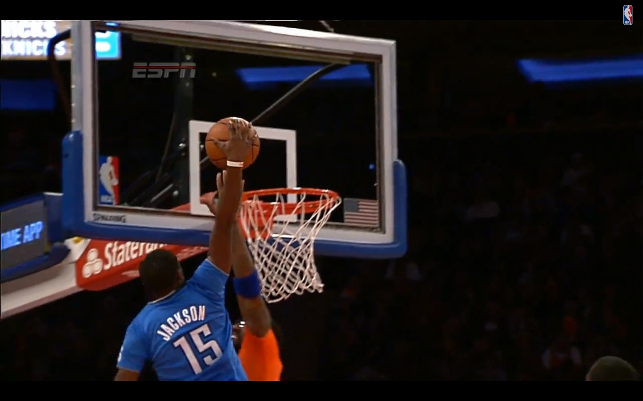 above the rim okc thunder guard reggie jackson dunks on