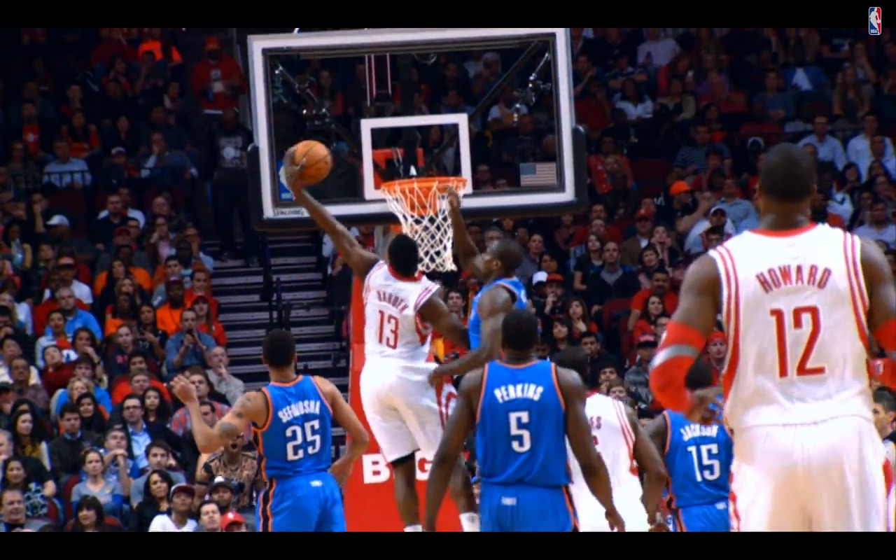 Screen Shot 2014 01 17 at 12.05.02 PM 1 Fear The Beard: James Harden Posterizes OKC Defensive Star Serge Ibaka (Video)