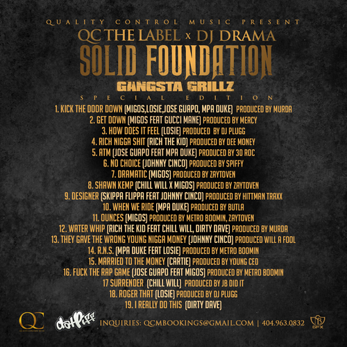 Quality Control Music Solid Foundation back large Quality Control Music Presents   Solid Foundation (Mixtape) (Hosted by DJ Drama)