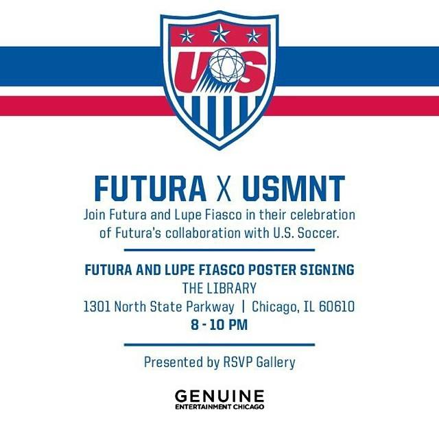 10371698 10152064782707282 5006559017715109535 n #Tonight FUTURA x @LupeFiasco World Cup Poster Signing in Chicago, IL