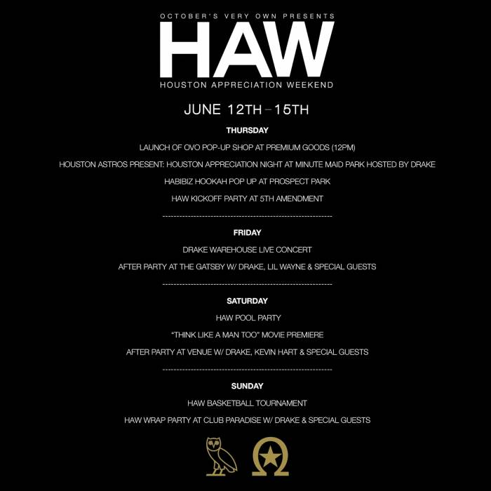 Drake-HAW Drake Unveils The Official 2014 Houston Appreciation Week Schedule !!
