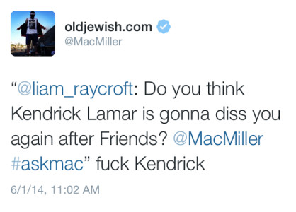 "photo-1-1 Where's The Love: Mac Miller Says ""Fuck Kendrick"" Once Again"