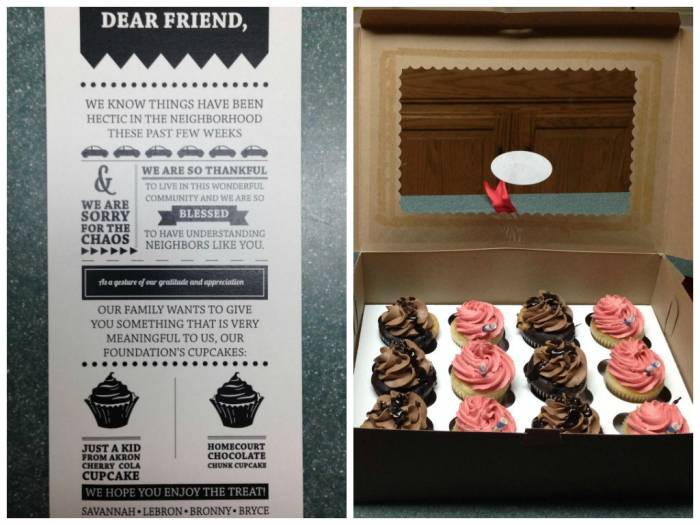 lebron-cupcakes Like A Good Neighbor: Lebron Gives his Neighbors Cupcakes as a Token of Thanks For Dealing with the Media