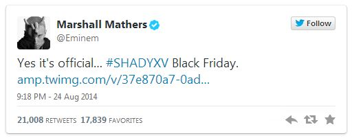 eminemnewalbum Eminem Confirms His Next Studio Album, Shady XV Will Be Released On Black Friday!