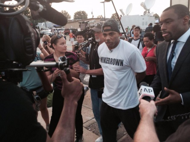 nellyferguson-630x472 Nelly Joins Mike Brown Protesters In Ferguson, Missouri (Video)