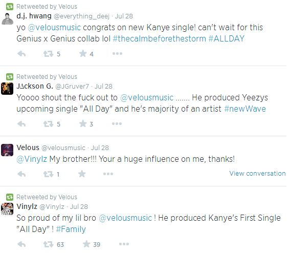 veloustweets Coke Boys Newest Signee, Velous Confirms He Is The Producer For Kanye West's Upcoming 'All Day' Single