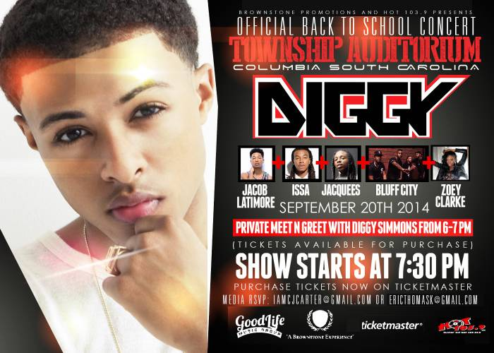 image Enter To Win 2 Tickets To See Diggy Simmons, Jacob Latimore, Issa, Jacquees & More In Columbia, SC (9-20-14)