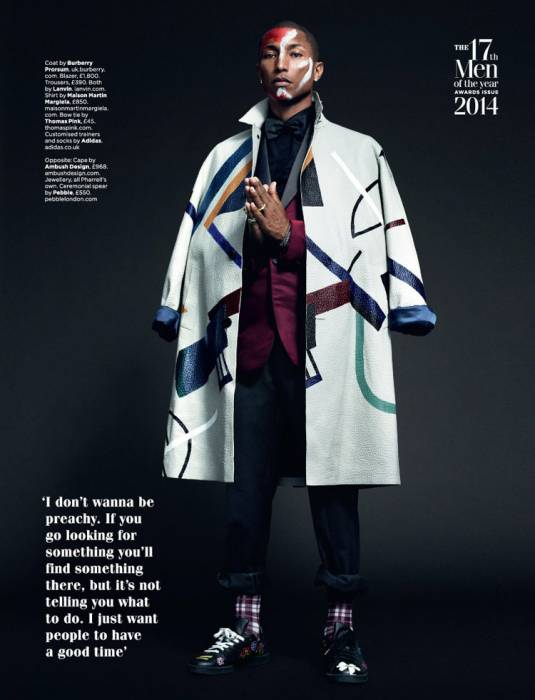 p3 British GQ Chooses Pharrell Williams As It's Solo Artist Of 2014! (Photos)