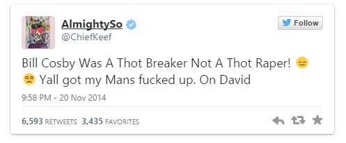 Chief Keef To The Rescue: Chief Keef Defends Bill Cosby In His Rape Allegations Via Twitter