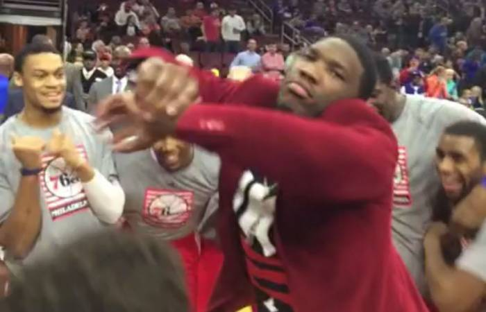 joel_embiid Philadelphia 76ers Rookie Joel Embiid Does The Shmoney Dance During Pre-Game Warmups (VIDEO)