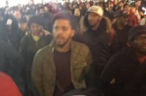 "J Cole Joins Eric Garner's ""I Can't Breathe"" Peaceful Protesters In NYC (Photo)"