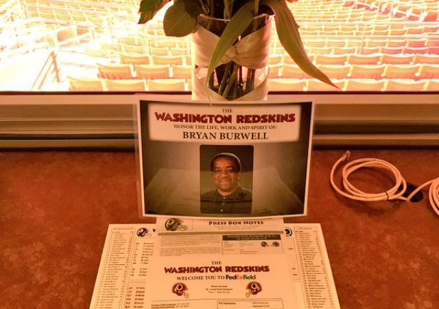 bryan-burwell-open-seat-12072014 The Washington Redskins Honor Sports Writer Bryan Burwell With Empy Seat & Flowers In Press Box (Photos)