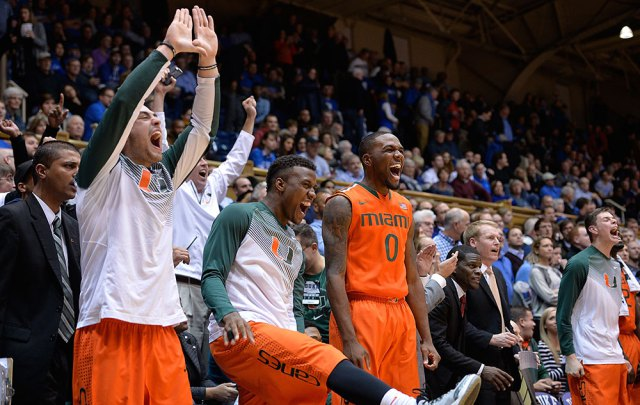 miami-bench-fired-up-duke-win Philly's Own Ja'Quan Newton Helps The Miami Hurricanes Upset The Top Ranked Duke Blue Devils