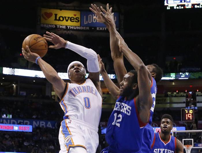 p9-nba-a-20150306 Days Of Thunder: OKC Star Russell Westbrook Drops His 4th Straight Triple-Double (49pt/16reb/10asst)