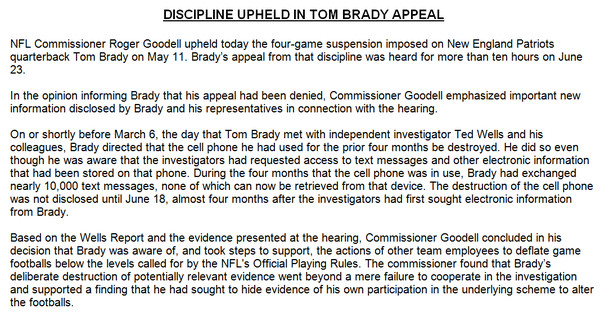 Tom-Brady-1 Dreams Deflated: NFL Upholds Tom Brady's 4 Game Suspension; Reports Claim Brady Destroyed His Cell Phone