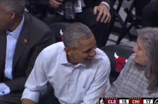 Southside's Finest: President Obama Catches the Cavs vs. Bulls Game Courtside At The United Center (Photos)