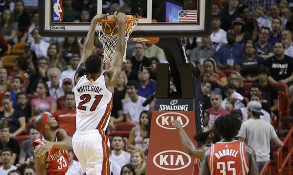 whiteside Miami Heat Center Hassan Whiteside Has a Monster Night Putting Up 25 Points & 15 Boards Against Houston