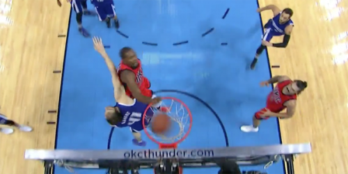 CVlg554UAAAt-O9-500x250 Flight School: OKC All-Star Kevin Durant Posterizes Kings Center Kosta Koufos (Video)