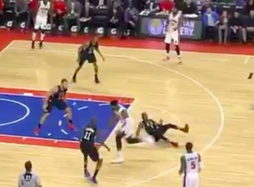 CWO623fUwAARHxu-1-500x368 Down Goes Paul: Pistons Big Man Andre Drummond Breaks Chris Paul's Ankles (Video)