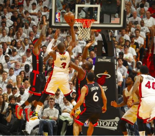 wade-500x438 The Heat Is On: Dwyane Wade Drops 30 Points To Tie The Series (2-2) Against the Toronto Raptors (Video)