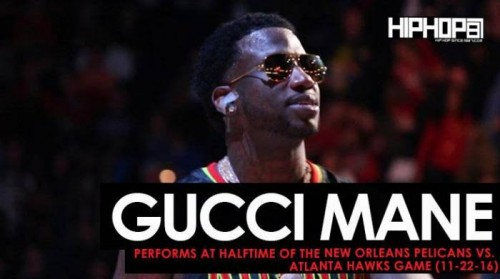 "Gucci-Hawks-500x279 Gucci Mane Performs ""Black Beatles"", ""First Day Out Da Feds"" & More at Halftime of the New Orleans Pelicans vs. Atlanta Hawks Game (11-22-16)"