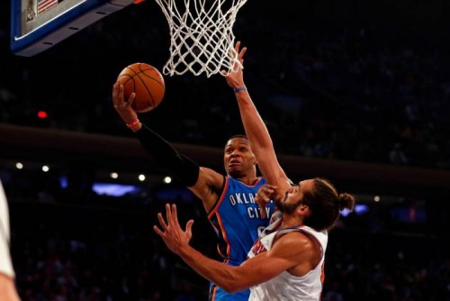 Westbrook-87-500x334 Russell Westbrook's 3rd Straight Triple Double Leads The OKC Thunder Past the New York Knicks (112-103) (Video)