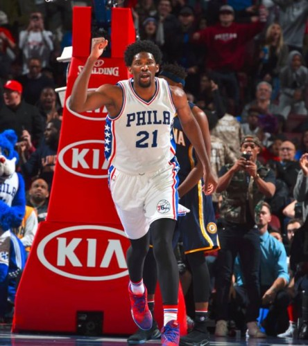 joel--444x500 Winless No More: The Philadelphia Sixers Defeat the Indiana Pacers (109-105) in Overtime (Video)
