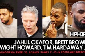 Jahlil Okafor, Brett Brown, Dwight Howard, Thabo Sefolosha, Tim Hardaway Jr.  (Philadelphia Sixers vs. Atlanta Hawks 11-12-16 Postgame Interviews)