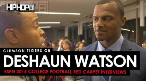 DeShaun-500x279 Clemson Tigers QB Deshaun Watson the 2016 Heisman, the 2016 College Football Playoffs & More on the ESPN 2016 College Football Awards Red Carpet (Video)