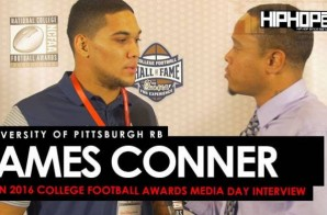 University of Pittsburgh RB James Conner Talks Defeating Cancer, Upsetting Clemson & More at the ESPN 2016 College Football Awards Media Day (Video)
