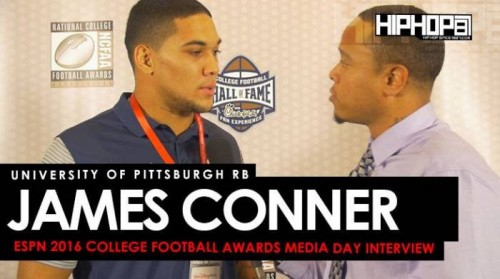 james-conner-500x279 University of Pittsburgh RB James Conner Talks Defeating Cancer, Upsetting Clemson & More at the ESPN 2016 College Football Awards Media Day (Video)