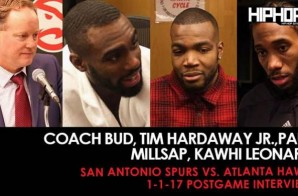 Coach Bud, Tim Hardaway Jr.,Paul Millsap, Kawhi Leonard (San Antonio Spurs vs. Atlanta Hawks 1-1-17 Postgame Interviews)