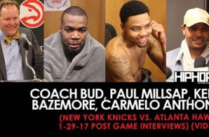 Coach Bud, Paul Millsap, Kent Bazemore, Carmelo Anthony (New York Knicks vs. Atlanta Hawks 1-29-17 Post Game Interviews) (Video)