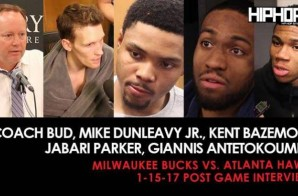 Coach Bud, Mike Dunleavy Jr., Kent Bazemore, Jabari Parker, Giannis Antetokoumpo (Milwaukee Bucks vs. Atlanta Hawks 1-15-17 Post Game Interviews)
