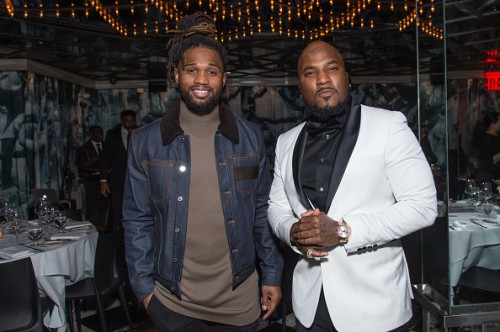 NEW YORK, NY - JANUARY 05: (EXCLUSIVE COVERAGE) NFL Football Player Omar Bolden (L) and Jeezy attend the Forbes Dinner Honoring Jeezy at the Hunt & Fish Club on January 5, 2017 in New York City. (Photo by Mark Sagliocco/Getty Images)