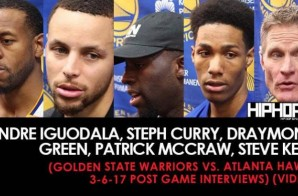 Steph Curry, Draymond Green, Patrick McCaw, Steve Kerr (Golden State Warriors vs. Atlanta Hawks 3-6-17 Post Game Interviews) (Video)