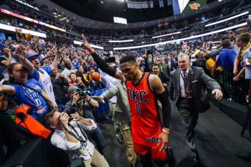 C9A8U8hVwAAV21Z-500x333 Above The Rim: OKC Thunder Star Russell Westbrook Scores 50 Points & Makes History With 42 Single Season Triple-Doubles (Video)