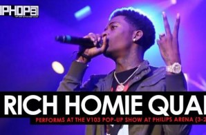 "Rich Homie Quan Performs ""Walk Thru"" and Debuts his New Record ""Replay"" at the V103 Pop-Up Show at Philips Arena (3-25-17) (Video)"