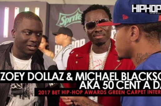 "Michael Blackson & Zoey Dollaz Talk ""50 Cent a Day"", the Upcoming ""50 Cent a Day"" Album, Their Favorite Song of the Summer & More on the 2017 BET Hip-Hop Awards Green Carpet (Video)"