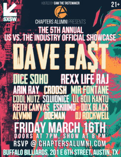image1-386x500 Chapters Alumni Announce Their 5th Annual 'Us vs The Industry' SXSW Showcase feat. Dave East, Dice SoHo, Squidnice & More!