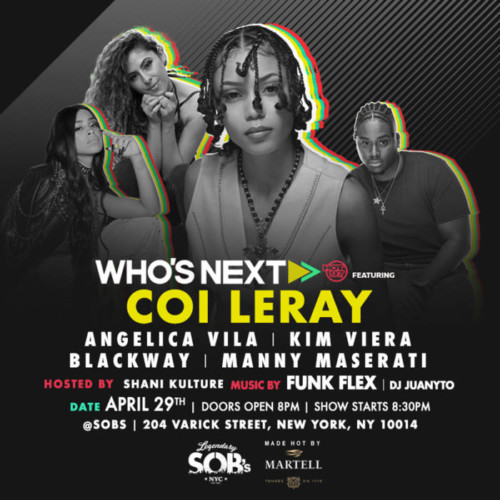 WhosNext_04-29-tex-500x500 Hot 97 Presents Who's Next at SOB's w/ Coi Leray, Angelica Vila, & More!
