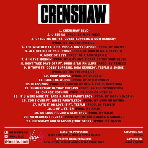 Nipsey Hussle – Crenshaw (Mixtape Tracklist)