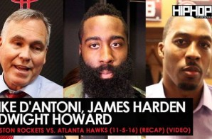 Mike D'Antoni, James Harden, Dwight Howard (Houston Rockets vs. Atlanta Hawks LockerRoom Interviews) (Video)