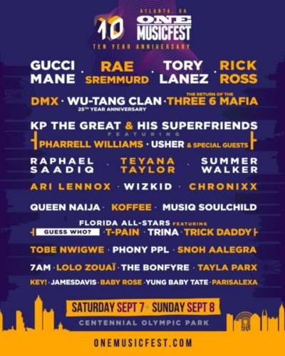 one-musicfest-2019-400x500 Gucci Mane, Rick Ross, Wutang Clan & More to Headline One Music Fest in Atlanta