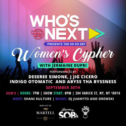 WN-SoSoDef-WC-flyer-3-500x500 Hot 97's Who's Next Presents The So So Def Women's Cypher w/ Jermaine Dupri & More on 9/30
